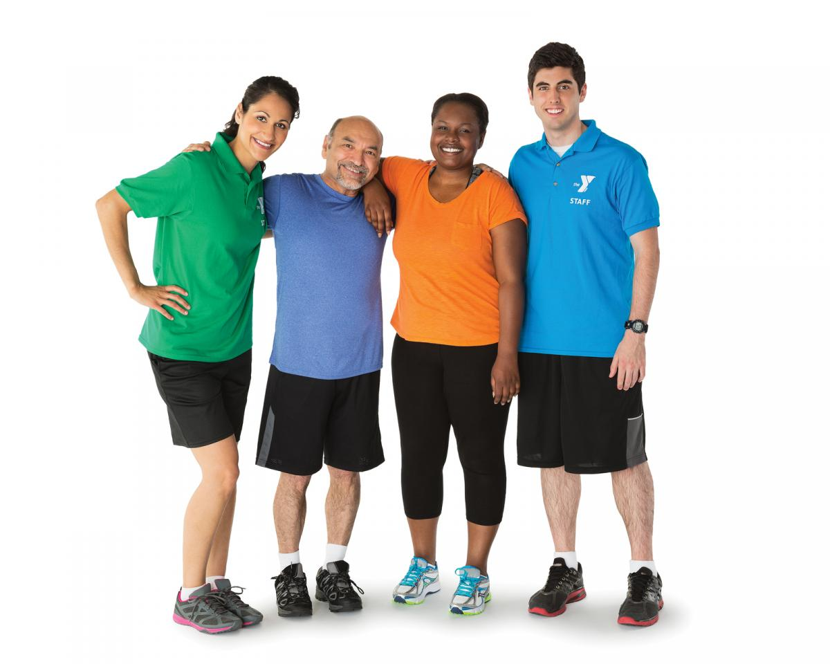 Four adults in workout clothes.