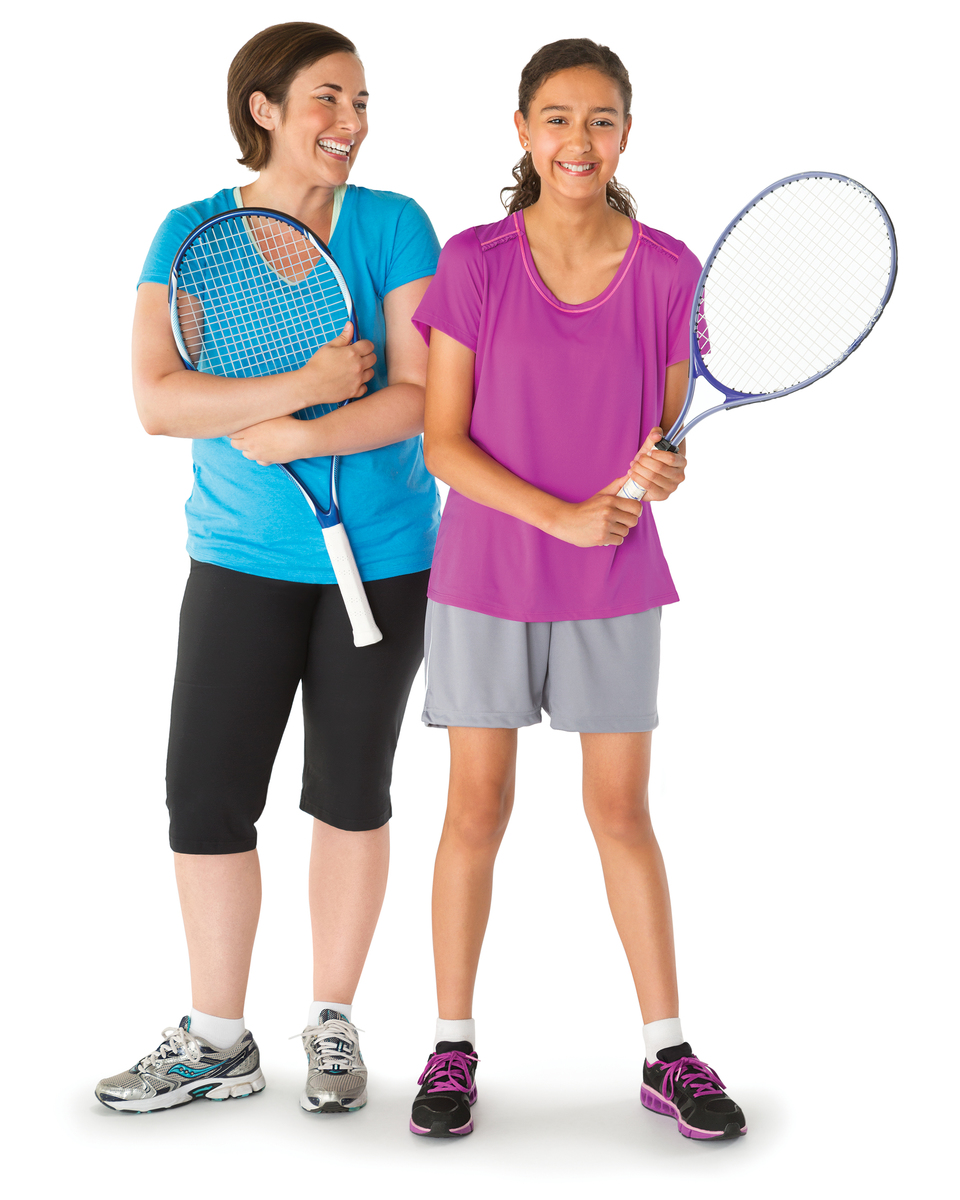 Mother and daughter with tennis racquets.