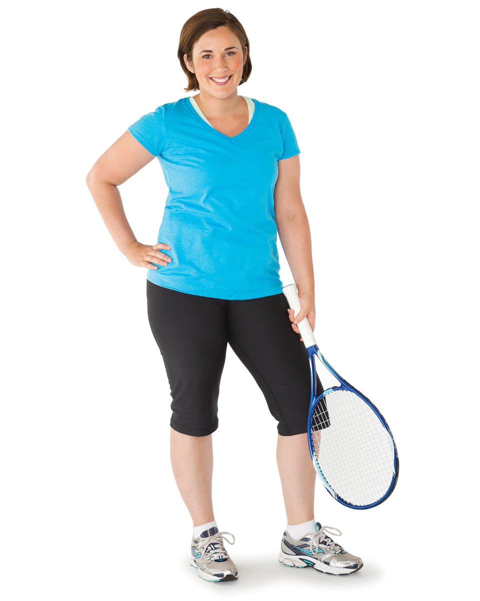 Adult woman with tennis racquet.