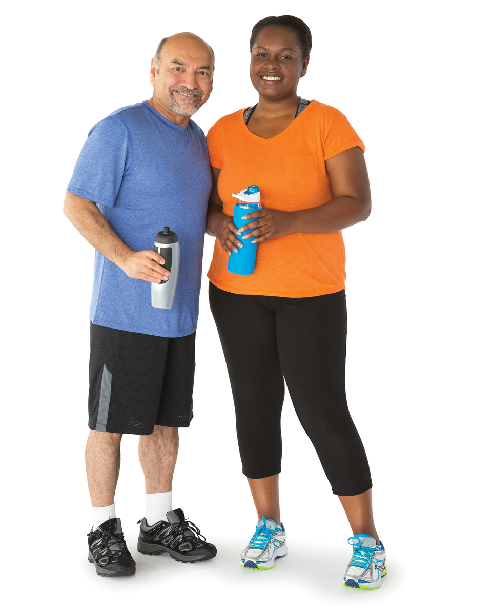 adult man and adult woman drinking water bottles