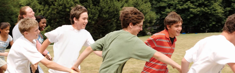 Kids running relay.